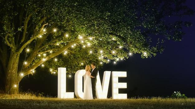 イブニングドレスを着た豪華なカップルが、ヴィンテージの花輪のある大きな美しい木の近くの自然を抱き締めています。彼らは抱きしめます。恋愛中。