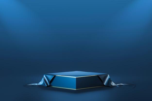 Luxury dark blue product backgrounds stage or winner podium pedestal on elegance presentation with light display backdrops. 3d rendering.
