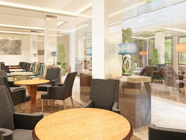 ホテルの建物内にある豪華なデザインの朝食ルーム。 4人用の茶色の椅子が付いた木製のテーブル3dレンダリング。