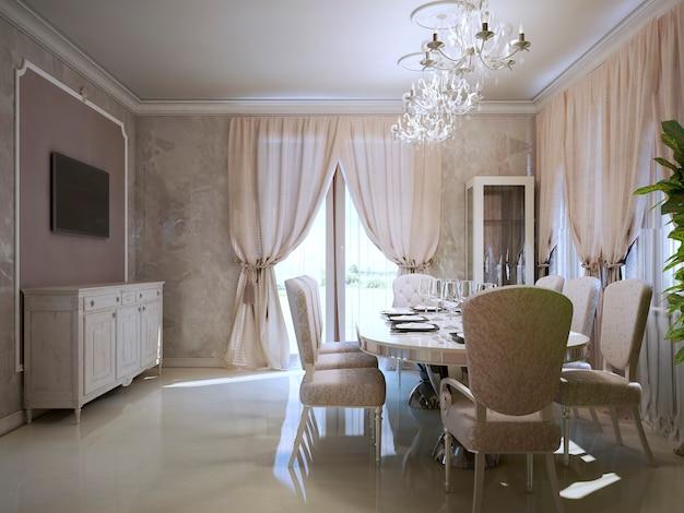 Luxury dining room in art deco style