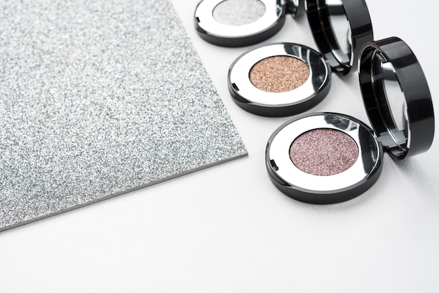 Luxury eye shadows with glitter