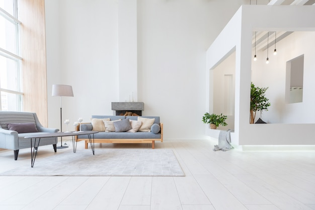 Luxury fashionable modern design studio apartment with a free layout in a minimal style