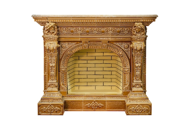 Luxury fireplace isolated on white