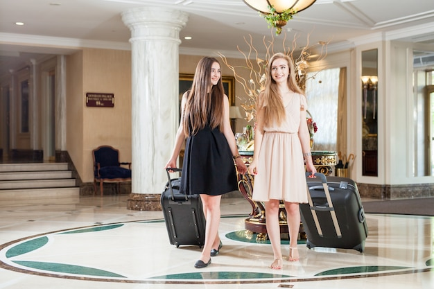 Luxury five-star hotel welcomes guests on a weekend.