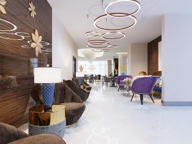 Роскошный пятизвездочный отель с лаунж-зоной. 3d рендеринг