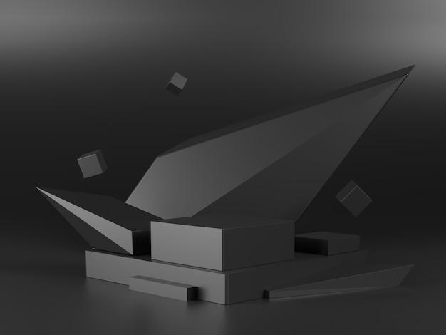 Роскошный геометрический черный подиум с черным фоном