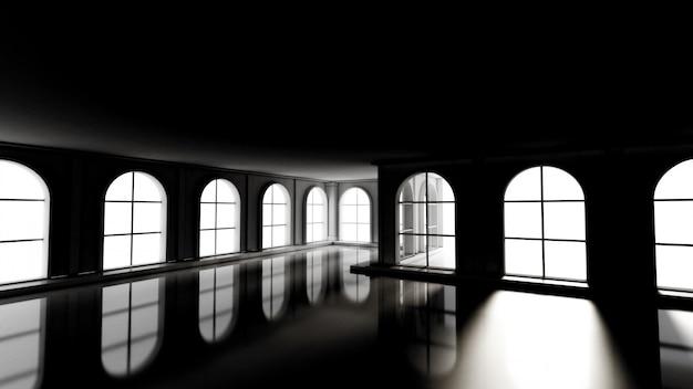 Роскошный мрачный пустой интерьер. 3d-рендеринг.