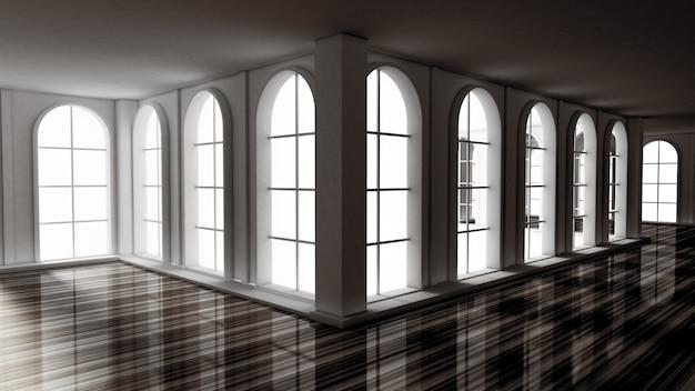 Luxury gloomy empty interior. 3d rendering.