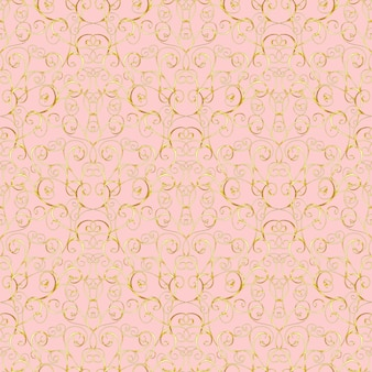 Luxury gold baroque seamless pattern on pink background. for wallpaper, wrapping, textile, web page background, invitation card, fashion design.
