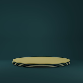 Luxury gold cylinder product stand in blue room ,studio scene for product ,minimal design,3d rendering