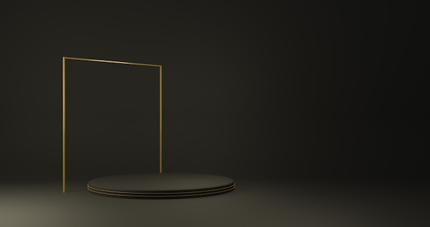 Luxury gold cylinder product stand in dark room ,studio scene for product ,minimal design,3d rendering
