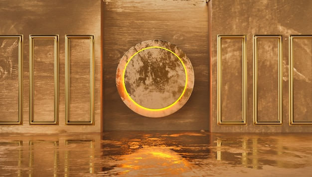 Luxury gold indoor and scratched grunge wall with cycle warm light for logo or commercial, 3d rendering.