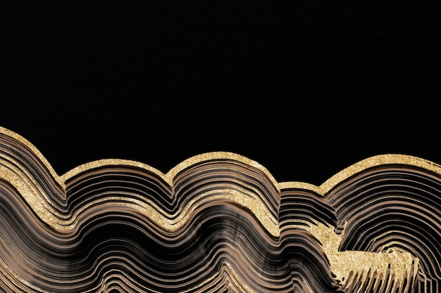Luxury gold textured background in black abstract art