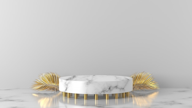 Luxury gold and white marble cylinder podium in white background.