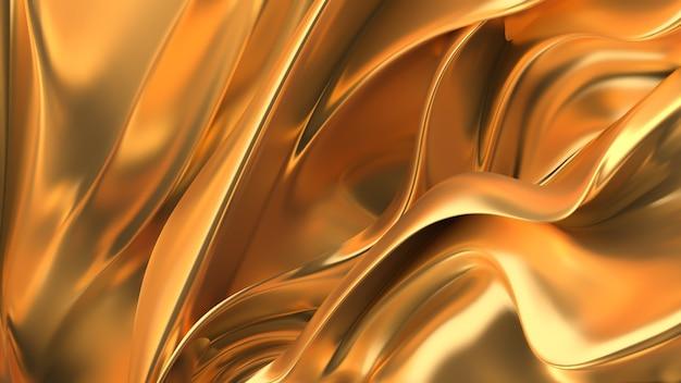 色付きのマザーオブパールのキラキラの色合い、プリーツ、波のある豪華な金色の背景。 3dイラスト、3dレンダリング。