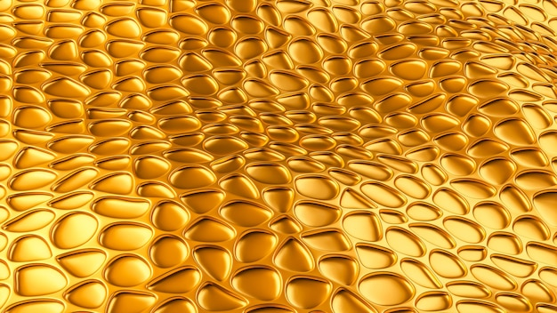 Luxury golden background with leather texture. 3d illustration, 3d rendering.