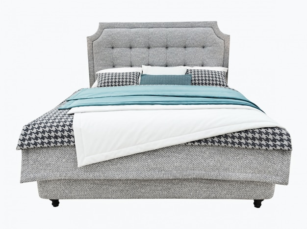 Luxury gray modern bed furniture with upholstery capitone texture headboard and fabric bedclothes