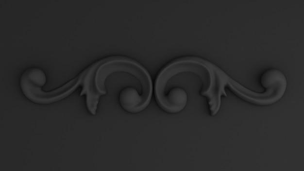 壁のコンセプトスタッコ3dレンダリングの豪華な石膏装飾要素