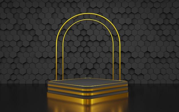 豪華な六角形の幾何学的形状背景表彰台ブラックとゴールド製品プレゼンテーション用3dレンダリング
