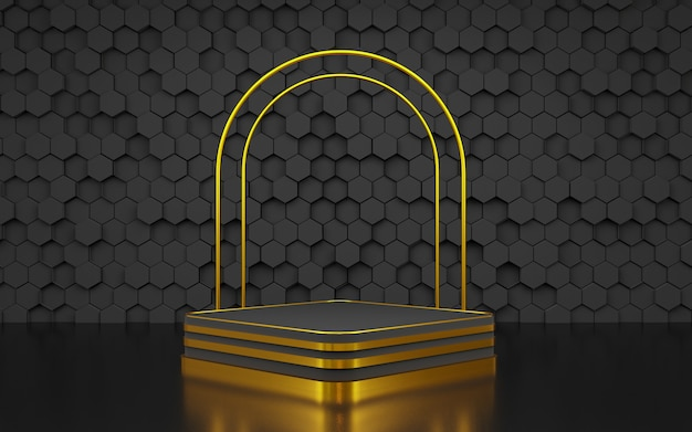 Luxury hexagon geometric shape background podium black and gold for product presentation 3d rendering