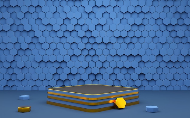Luxury hexagon geometric shape background podium blue and gold for product presentation 3d rendering