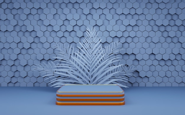 Luxury hexagon geometric shape background podium blue and gold with palm leaf for product presentation 3d rendering