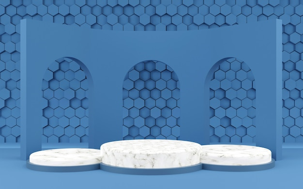 Luxury hexagon geometric shape background podium blue and marble texture for product presentation 3d rendering