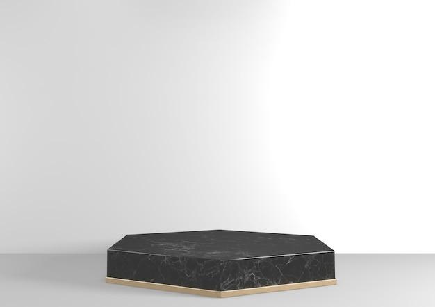 흰색 바탕에 기하학적 쇼 화장품 제품에 대 한 럭셔리 육각 연단 검은 화강암. 3d 렌더링