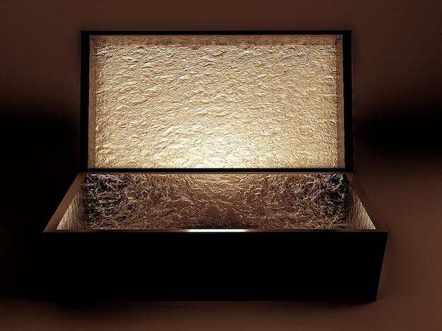 Роскошная праздничная подарочная упаковка. коробка золотая внутри и темная снаружи. 3d иллюстрации, 3d-рендеринг.