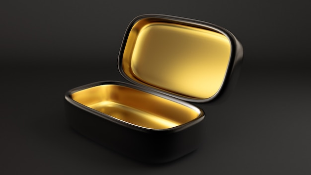 Роскошная праздничная подарочная упаковка. коробка золотая внутри и темная снаружи.