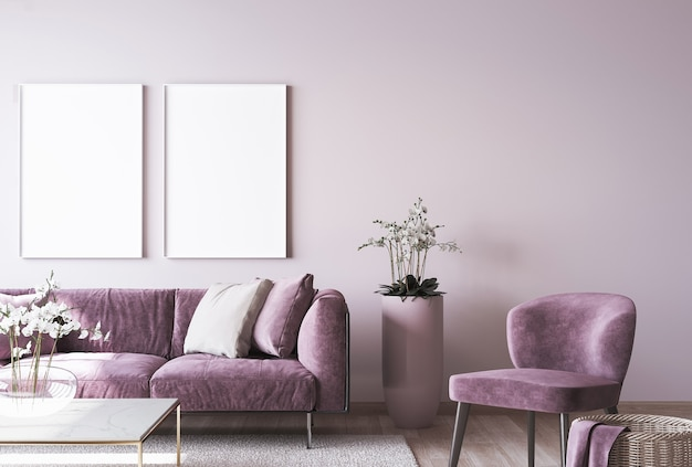 Luxury home decor with frame mockup on pink wall