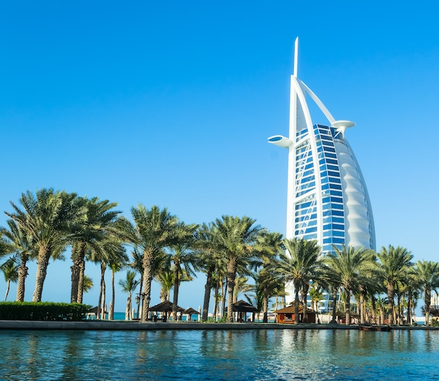 Luxury hotel burj al arab tower of the arabs, also known as arab sail
