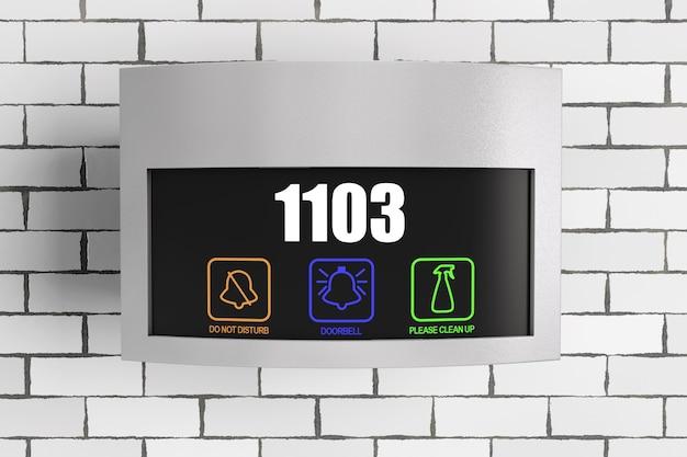 レンガの壁の前に部屋番号が表示された高級ホテルの電子ドアプレートタッチドアベルスイッチ。 3dレンダリング。