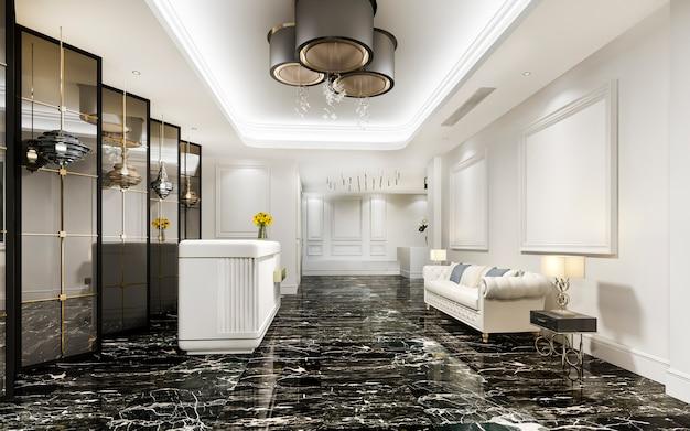 고급 호텔 리셉션 홀과 현대적인 카운터가있는 클래식 한 사무실