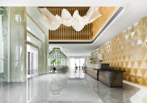 高級ホテルのレセプションホールとモダンなカウンター付きのクラシックなオフィス