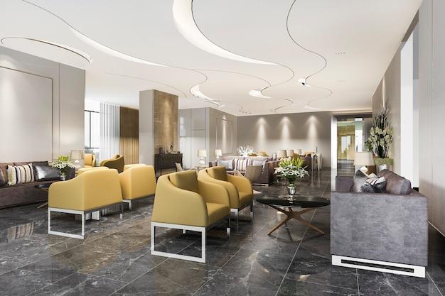 현대적인 최소한의 카운터가있는 고급 호텔 리셉션 홀 및 사무실
