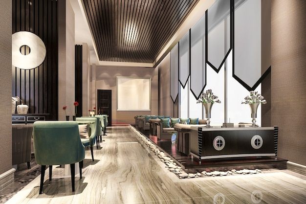 Luxury hotel reception hall and lobby reception
