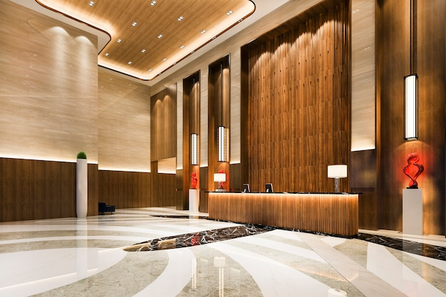 Luxury hotel reception hall and lounge restaurant with high ceiling