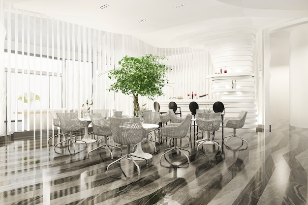 Luxury hotel reception hall and office with plant