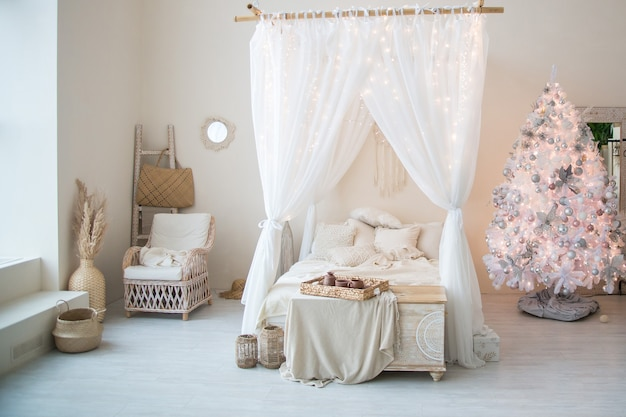 Luxury hotel room with bed, boho style
