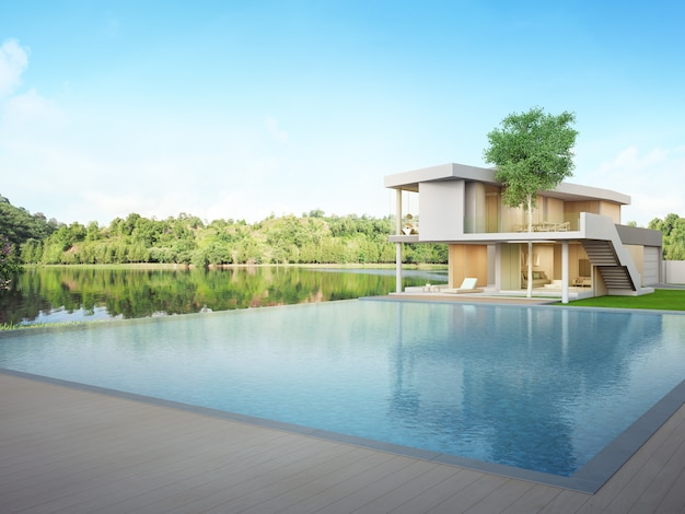 Luxury house with lake view swimming pool and terrace in modern design.
