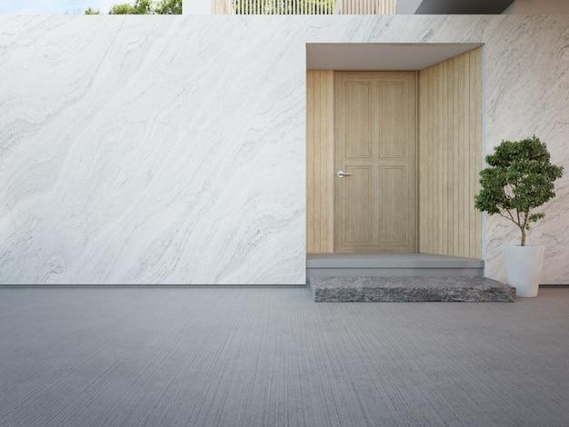 Роскошный дом с мраморной стеной и деревянной входной дверью в современном дизайне