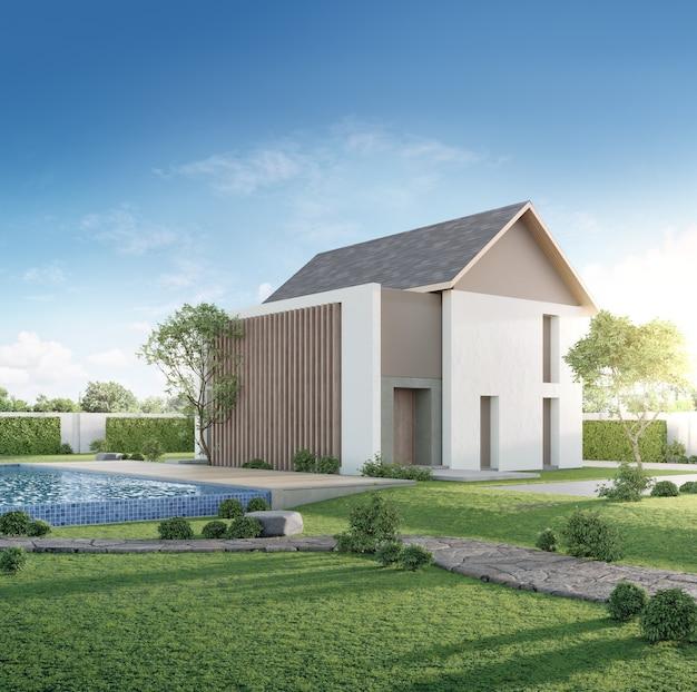 Роскошный дом с бассейном и деревянной террасой в современном дизайне