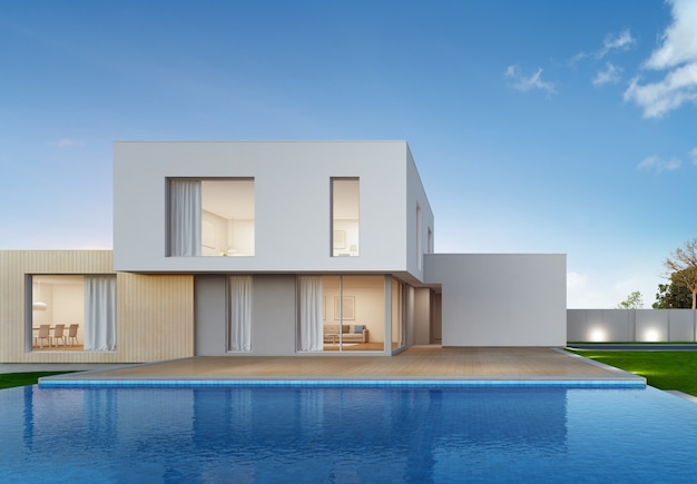 Luxury house with swimming pool and terrace in modern design.