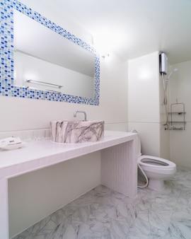 Luxury interior bathtoom, studio room type of condominium or apartment, service apartment