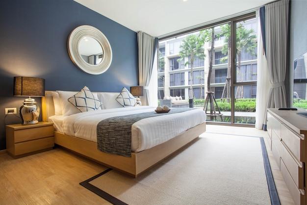 Luxury interior design in bedroom of pool villa with bright space