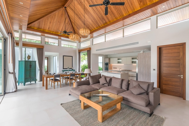 Luxury interior design in living room of pool villas.