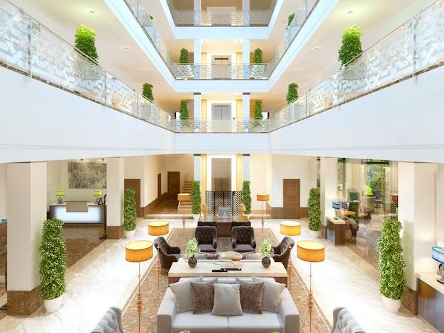 ホテルの豪華なインテリアデザインのラウンジエリア。ホテルの部屋とテーブルと床の高価な布張りの家具。 3dレンダリング。