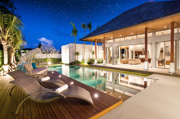 Luxury interior and exterior design pool villa with livingroom