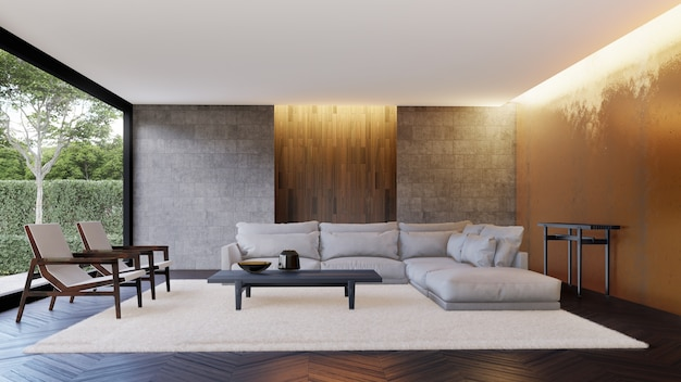 Luxury interior of living room with wall decoration.